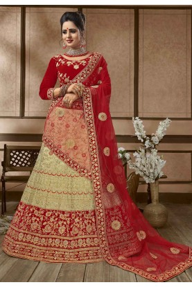 Beige,Red Colour Silk Lehenga Choli.