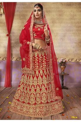 Red Colour Indian Designer Lehenga.
