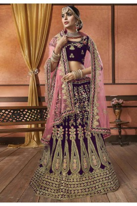 Purple Colour Designer Lehenga Choli.