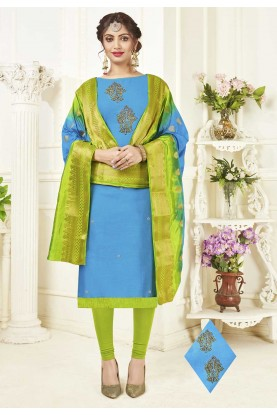 Blue Colour Cotton Salwar Kameez Online