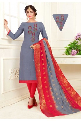 Grey Colour Casual Indian Salwar Kameez Online