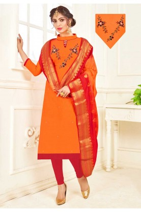 Orange Colour Cotton Indian Salwar Kameez Online