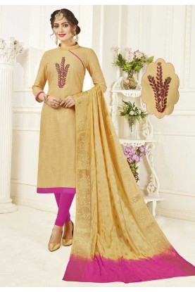 Buy Salwar Kameez Online in Cream Colour and Party Wear