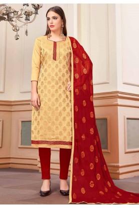 Buy Salwar Kameez Online in Beige Colour