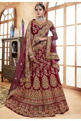 Maroon Colour Designer Indian Lehenga online
