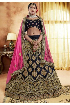 Blue Colour Engagement Indian Lehenga Choli Online
