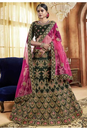Green Colour Indian Lehenga online