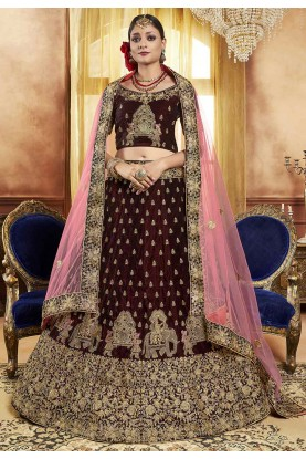 Brown Colour Wedding Indian Lehenga Choli Online