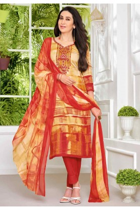 Yellow,Red Colour Casual Wear Salwar Kameez