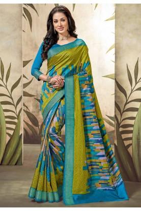 Blue,Green Colour Printed Saree.