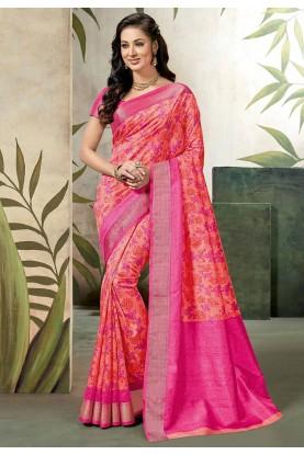 Peach,Pink Colour Raw Silk Saree.