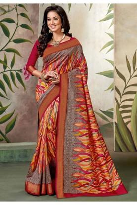 Multi Colour Printed Saree.