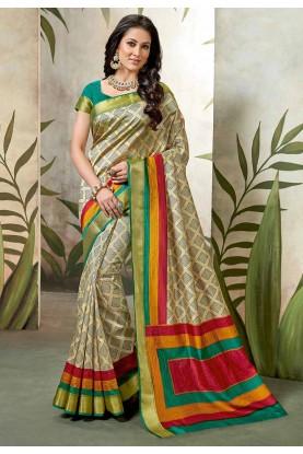 Cream Colour Silk Saree.