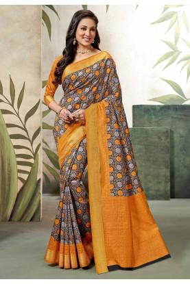 Orange Colour Printed Saree.