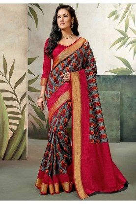 Red Colour Party Wear Sari.