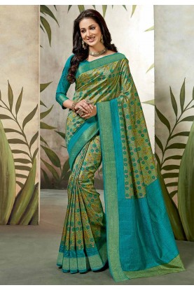 Green Colour Raw Silk Saree.