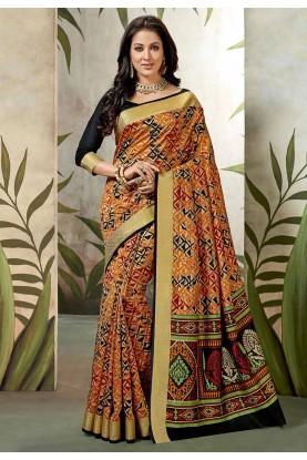 Multi Colour Printed Sari.