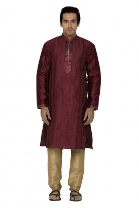 Maroon Colour Silk Kurta Pajama.