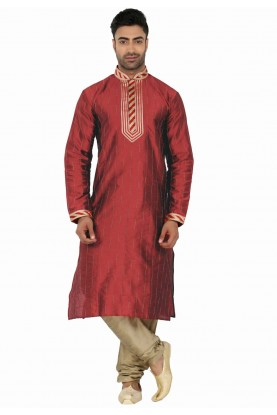 Red Colour Readymade Kurta Pajama.