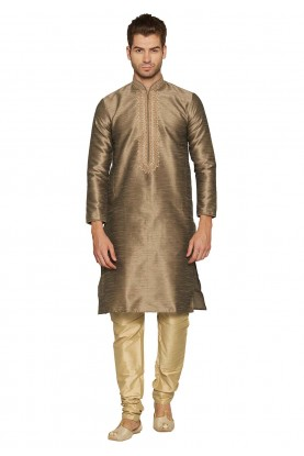 Brown Colour Silk Kurta Pajama.
