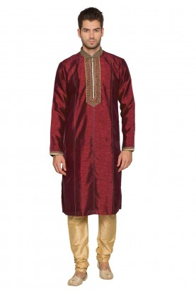 Maroon Colour Party Wear Kurta Pajama.