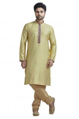 Yellow Colour Readymade Indian Kurta Pajama for Mens