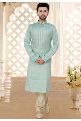 Plain: Buy Designer Kurta Pajama Online in Blue Colour