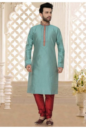 Silk: Buy Designer Kurta Pajama Online in Blue Colour