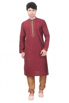 Silk: Buy Kurta Pyjama Online in Maroon Colour