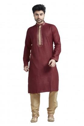 Maroon Colour Jacquard Kurta Pajama.