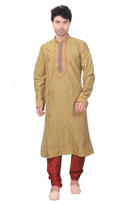 Designer: Buy Kurta Pyjama Online in Golden Colour