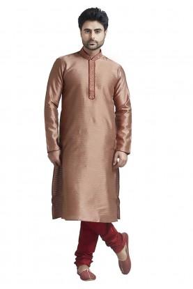 Rust Colour Jacquard Indian Kurta Pajama for Mens