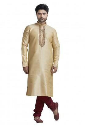 Designer: Buy Kurta Pyjama Online in Cream Colour