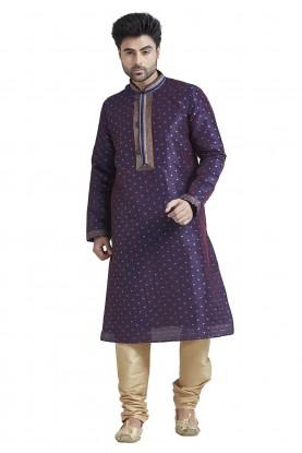 Purple Colour Party Wear Indian Kurta Pajama for Mens