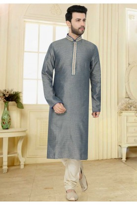 Plain: Buy Designer Kurta Pajama Online in Grey Colour