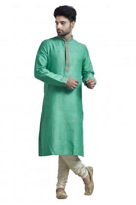 Buy Designer Kurta Pajama Online in Green Colour