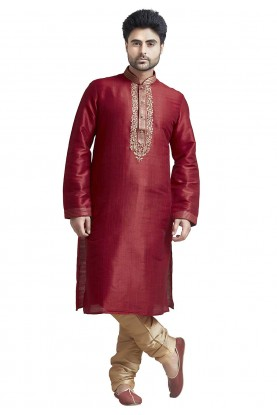 Red Colour Party Wear Indian Kurta Pajama for Mens