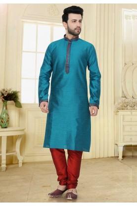 Green Colour Jacquard Kurta Pajama.