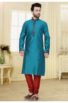 Jacquard: Buy Kurta Pyjama Online in Green Colour