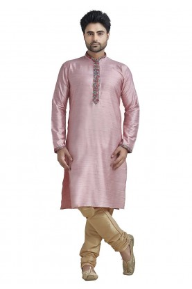 Pink Colour Indian Kurta Pajama for Mens