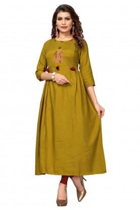 Yellow Colour Anarkali Casual kurtis online
