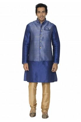 Blue Colour Silk Kurta Pajama.