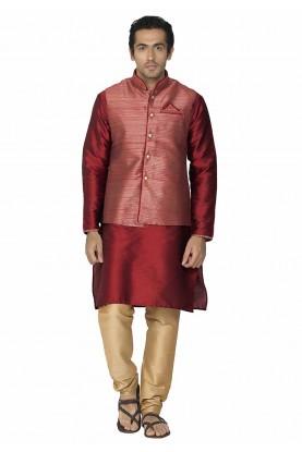 Red Colour Kurta Pajama With Jacket.