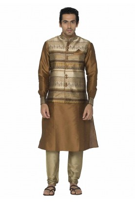 Brown Colour Readymade Kurta Pajama With Jacket.