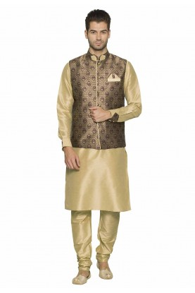 Brown,Beige Colour Party Wear Kurta Pajama.
