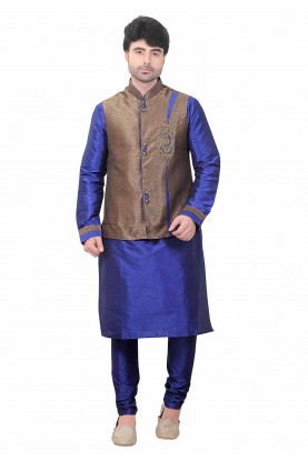 Blue,Brown Colour Silk Kurta Pajama.