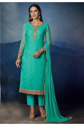 Buy Turquoise Colour Georgette Designer salwar kameez online