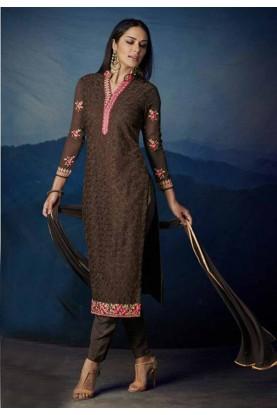 Buy Brown Colour Georgette Designer salwar kameez online