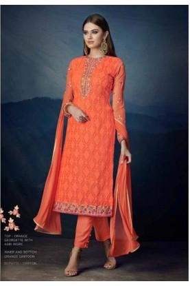 Buy Orange Colour Designer salwar kameez online