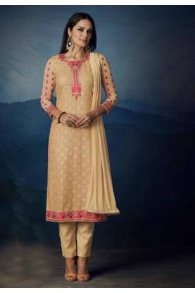 Buy Beige Colour Indian Designer salwar kameez online